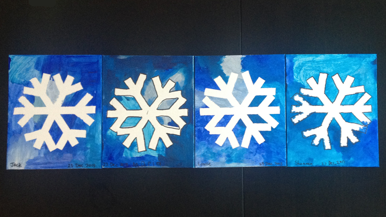 100 yen shop craft  snowflake paintings